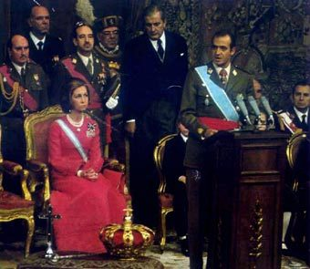 Prince Juan Carlos proclaimed King in 1975.