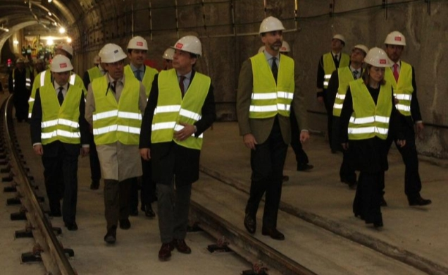 Prince Felipe visiting an expansion project for the Madrid Metro, one of the world's largest.