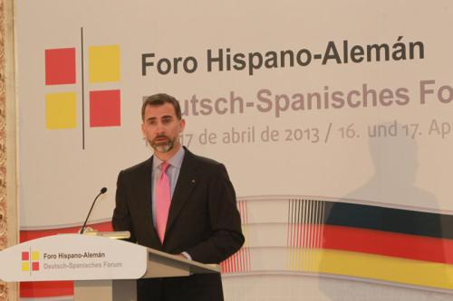 Prince Felipe speaking at a German-Spanish Forum, where he called for greater solidarity in solving current problems.