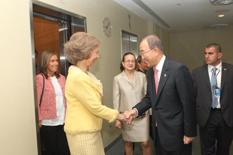 Queen Sofia also met with U.N. Secretary General Ban Ki Moon and spoke at a development work meeting. © Casa de S.M. el Rey / Borja Fotógrafos