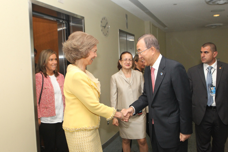 Queen Sofia also met with U.N. Secretary General Ban Ki Moon and spoke at a development work meeting. © Casa de S.M. el Rey / Borja Fotógrafos