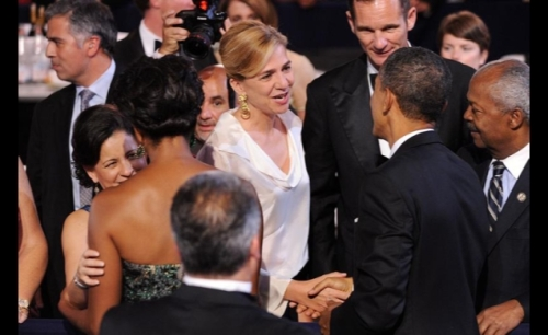 Infanta Cristina and her husband greet President Obama in Washington, D.C. in 2011. © Agencia EFE