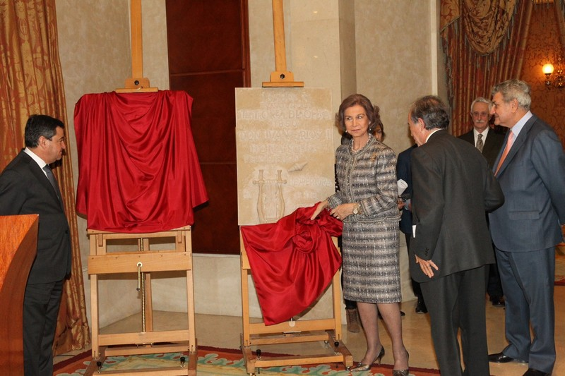 Queen Sofia at the Royal Theater in Madrid.