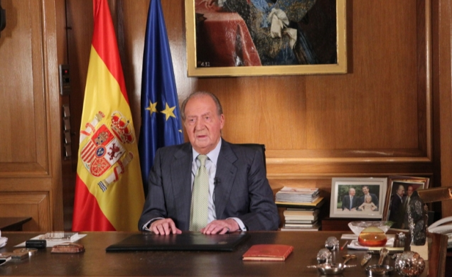 King Juan Carlos speaking at Zarzuela Palace.
