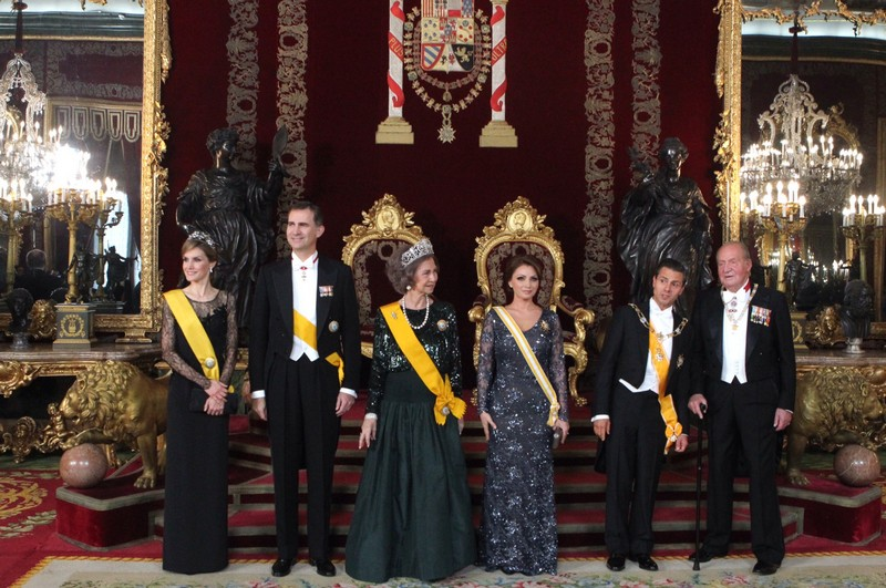 King Juan Carlos, Queen Sofia, Prince Felipe and Princess Letizia host Mexican President Enrique Peña Nieto and his wife for a state dinner at the Royal Palace in Madrid.