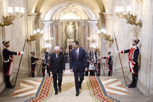 King Felipe with Italian President Sergio Mattarella at the Royal Palace in Madrid.