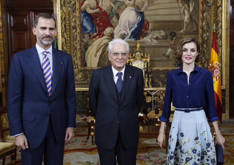 Queen Letizia joins her husband and President Mattarella. © Casa de S.M. el Rey