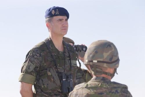 King Felipe attending NATO military exercises in Zaragoza. © Casa de S.M. el Rey