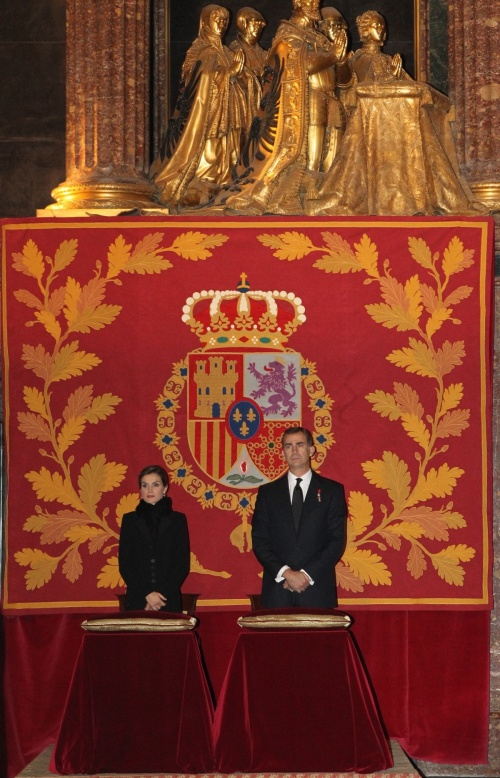 King Felipe and Queen Letzia at the Royal Site of San Lorenzo Del Escorial, the royal pantheon, for the funeral of Infante Don Carlos de Borbón-Dos Sicilias. © Casa de S.M. el Rey